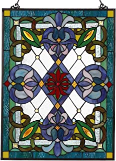 Bieye W10028 25 inches Victorian Tiffany Style Stained Glass Window Panel with Hanging Chain