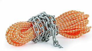 wellenshop 8mm, 30m Lange Ankerleine mit Kettenvorlauf Ankerkette mit Schäkel Tauwerk Leine Tau Seil Anker Boot, Farbe orange/weiß, Kette verzinkt