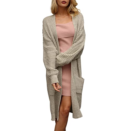 Simplee Women s Casual Open Front Long Sleeve Knit Cardigan Sweater Coat  with Pockets e5868d0b5