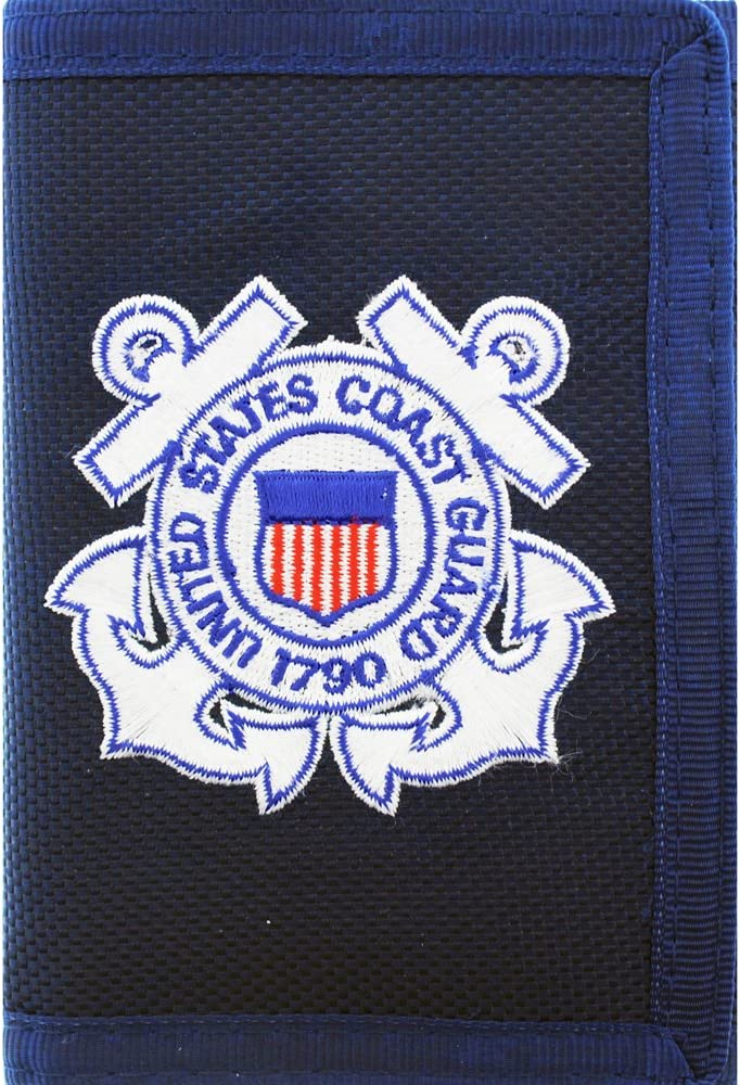 Eagle Emblem US Coast Guard Wallet Military Collectibles, Nylon, 5 inches x 3 1/2 inches, Black. Design: For Women or Men!