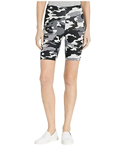 HUE Wavy Camo Cotton High-Waist Bike Shorts (Black Camo) Women
