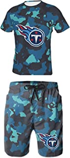 Fashion Summer Trendy Camouflage Print American Football Logo Round Neck T-Shirt Beach Shorts Casual Wear Suit
