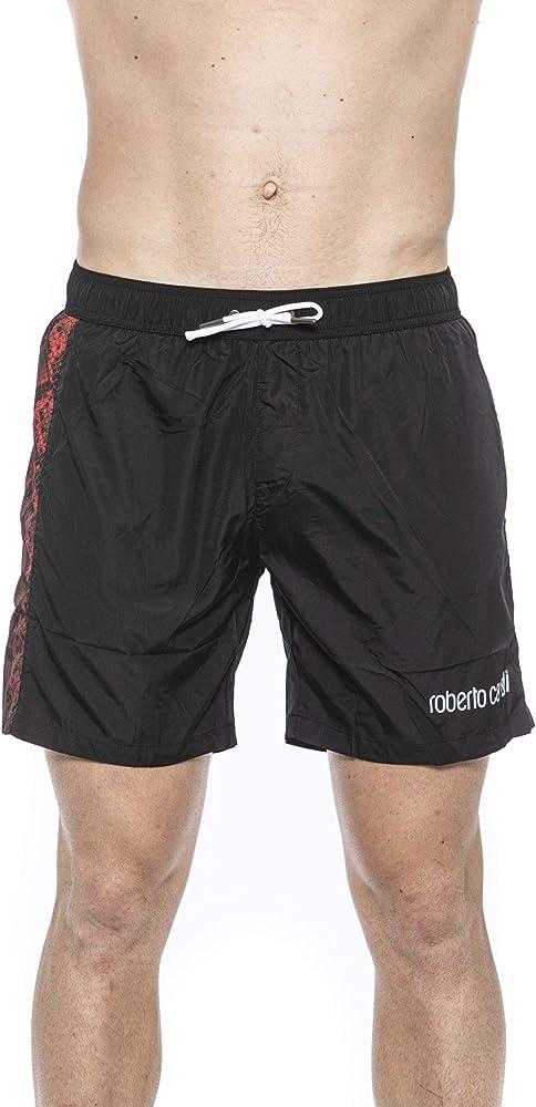 Roberto cavalli, costume da bagno a pantaloncini per uomo, 100% poliestere, NERO-ROSSO HSH12C
