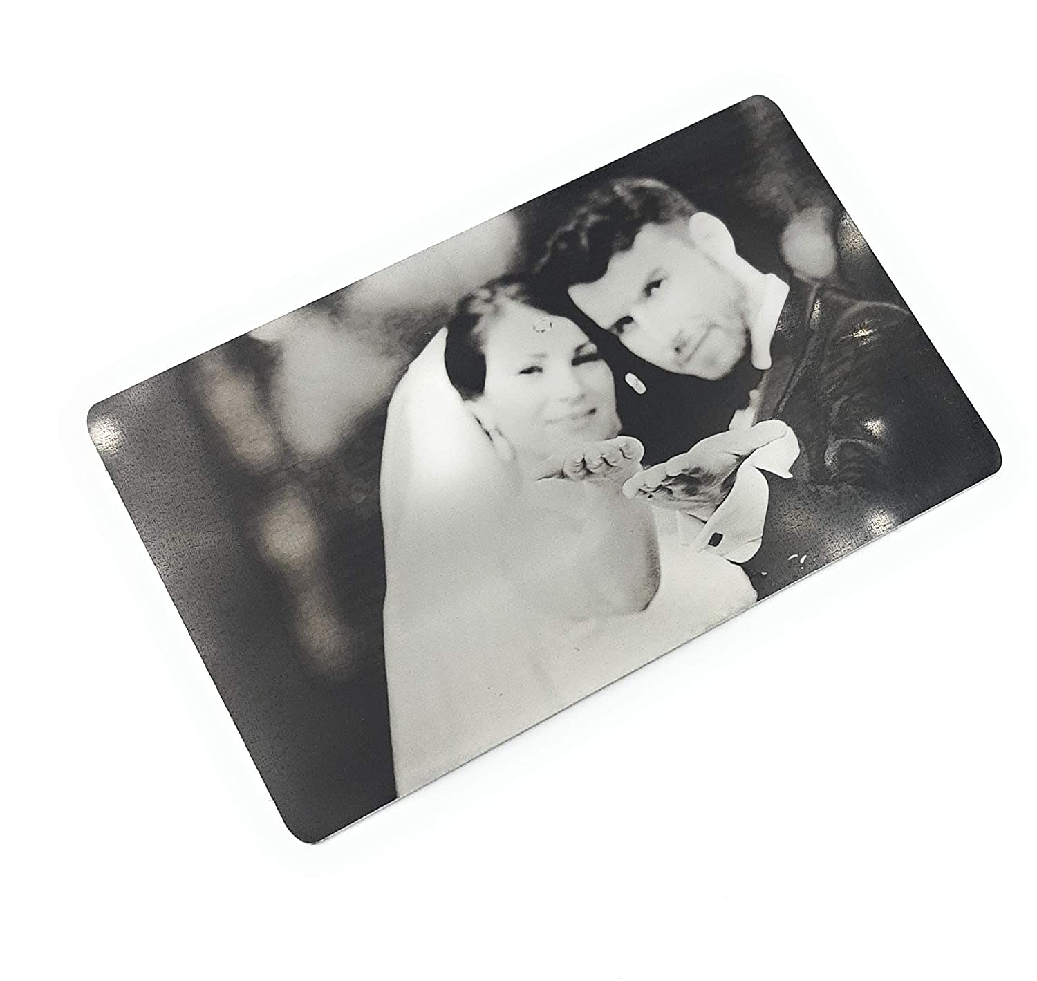 Real photo engraved wallet insert Discount mail order me card Branded goods custom