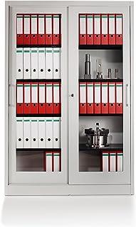 Mauser Armoire à portes coulissantes - façade vitrée, 4 tablettes - h x l x p 1950 x 1200 x 420 mm, gris clair - armoire a...