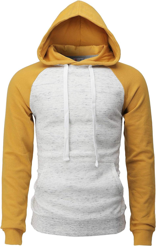 H2H Mens Casual Slim Fit Hoodie Raglan Long Sleeve Sweatshirts Fleece Lining Basic Designed