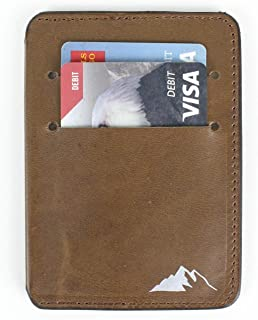 Leather Front Pocket Mens Wallet by Rugged Material - Slim Minimalist RFID Blocking Wallet