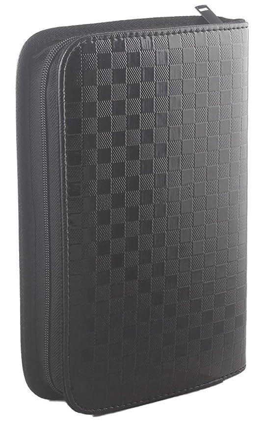 クック掻く知覚的サロン用ヘアツール収納バッグ、美容道具収納ポーチ、合成皮革黒色 大 (黒色)