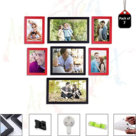 Art Street Set of 7 Individual Red & Black Wall Photo Frames Wall Decor Free Hanging Accessories Included ||Mix Size||4 Units 5X7, 2 Units 6X10, 1 Unit 8x10 inches||