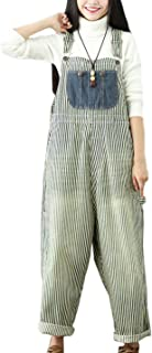 5ace1f92be7 Flygo Women s Loose Baggy Cotton Wide Leg Jumpsuits Rompers Overalls Harem  Pants