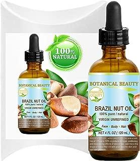 BRAZIL NUT OIL Bertholletia Excelsa WILD GROWTH RAW Brazilian 100% Pure Natural Virgin Unrefined 4 Fl.oz.- 120 ml for FACE, SKIN, BODY, HAIR, NAILS, FOOT CARE. Vitamin E, Selenium by Botanical Beauty