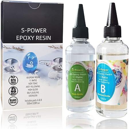 Resina epoxi AB, mezclado fácil 1:1, uso casero, perfecta para manualidades con madera, cristales o joyas, kit con adhesivo transparente