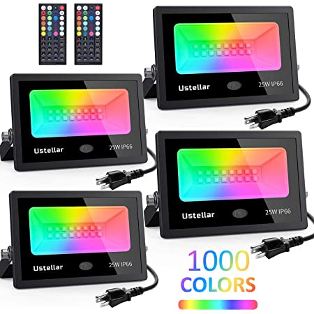 USTELLAR 4 Pack 25W RGB Color Changing Led Flood Lights Indoor Room Outdoor Halloween Party Exterior Uplighting Landscape Spotlight Floor Uplight Colored Floodlight Wall Washer Led Stage Lighting