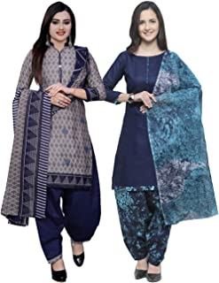 Rajnandini Women's Grey And Blue Cotton Printed Unstitched Salwar Suit Material (Combo Of 2) (Free Size)