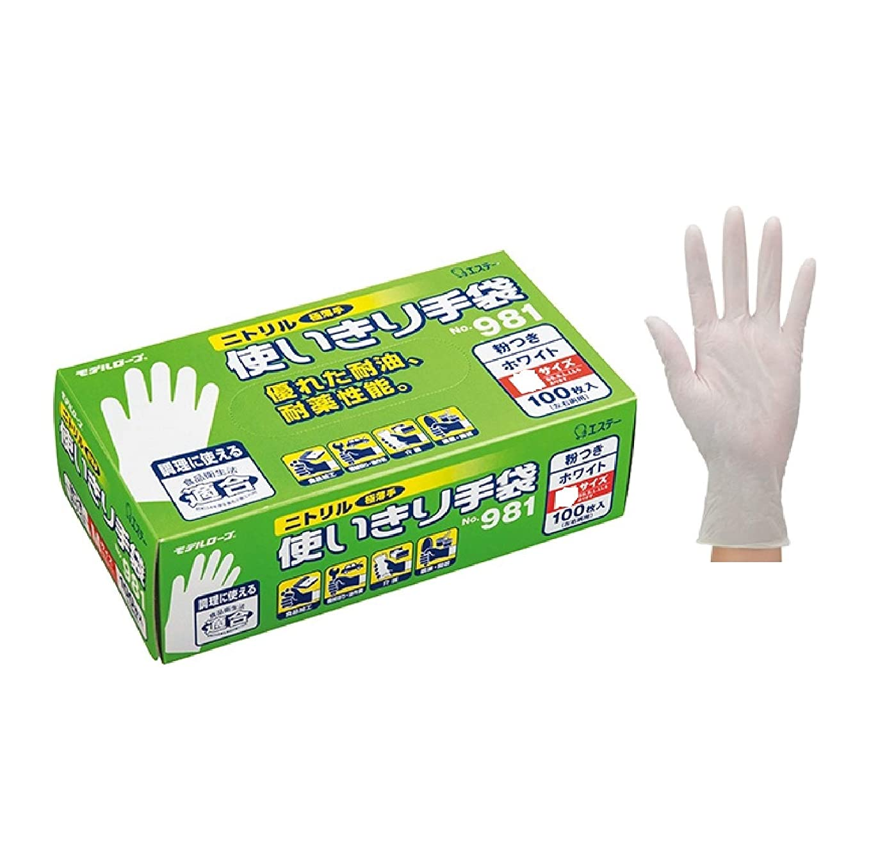 囲い単位カフェインテリア 日用雑貨 掃除用品 ニトリル手袋 粉付 No981 M 12箱