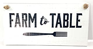 Farm to Table Sign, Solid Wood with Rope - Business Industrial Wall Plaque Vintage Banner Poster for Outdoor