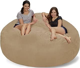 Chill Sack Bean Bag Chair: Giant 7' Memory Foam Furniture Bean Bag - Big Sofa with Soft Micro Fiber Cover - Camel Micro Suede