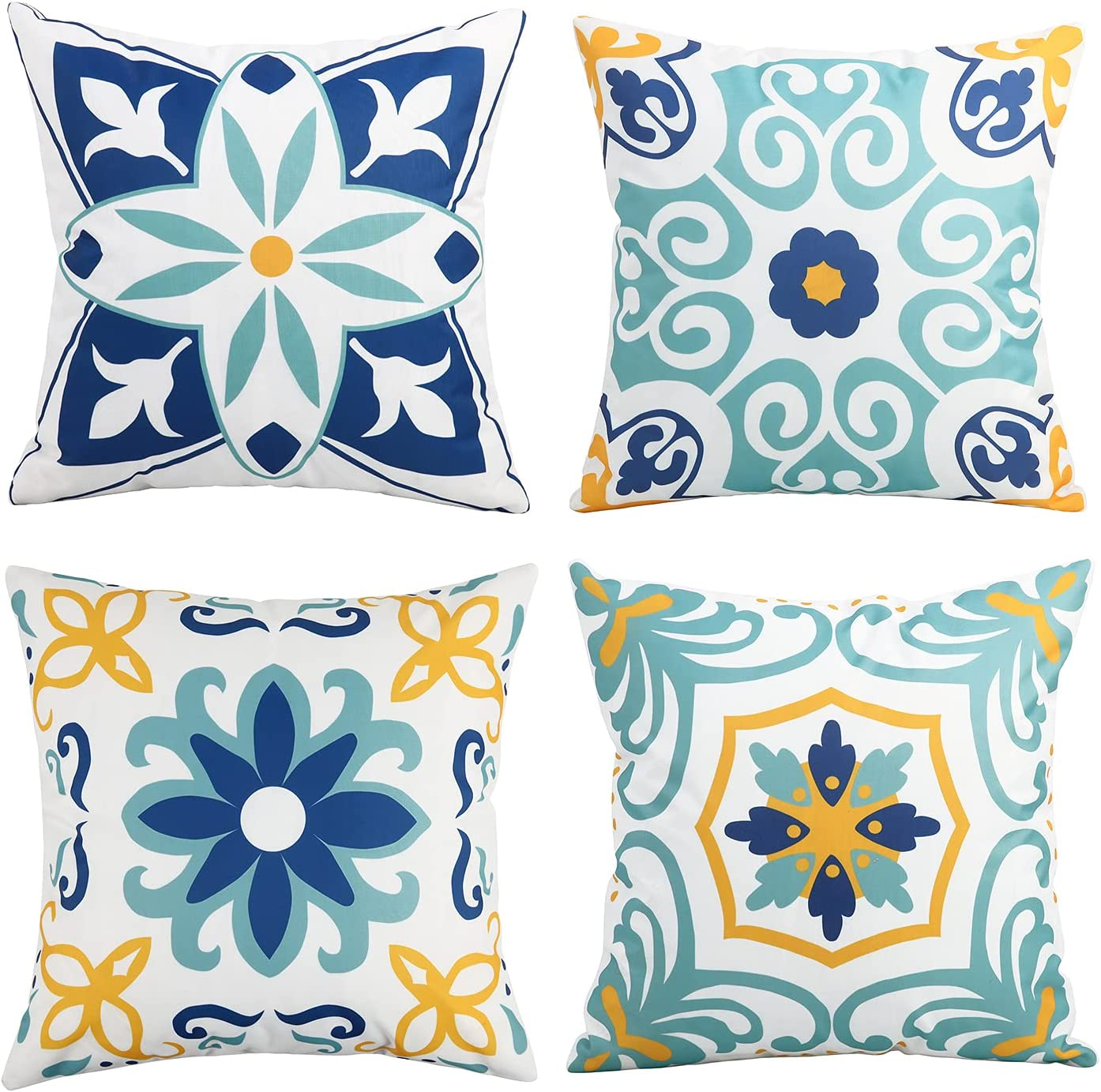 Outdoor Waterproof Throw Pillow Covers Set of 4 Floral Printed and Boho Farmhouse Outdoor Pillow Covers for Patio Funiture Garden 18x18 Inch Blue