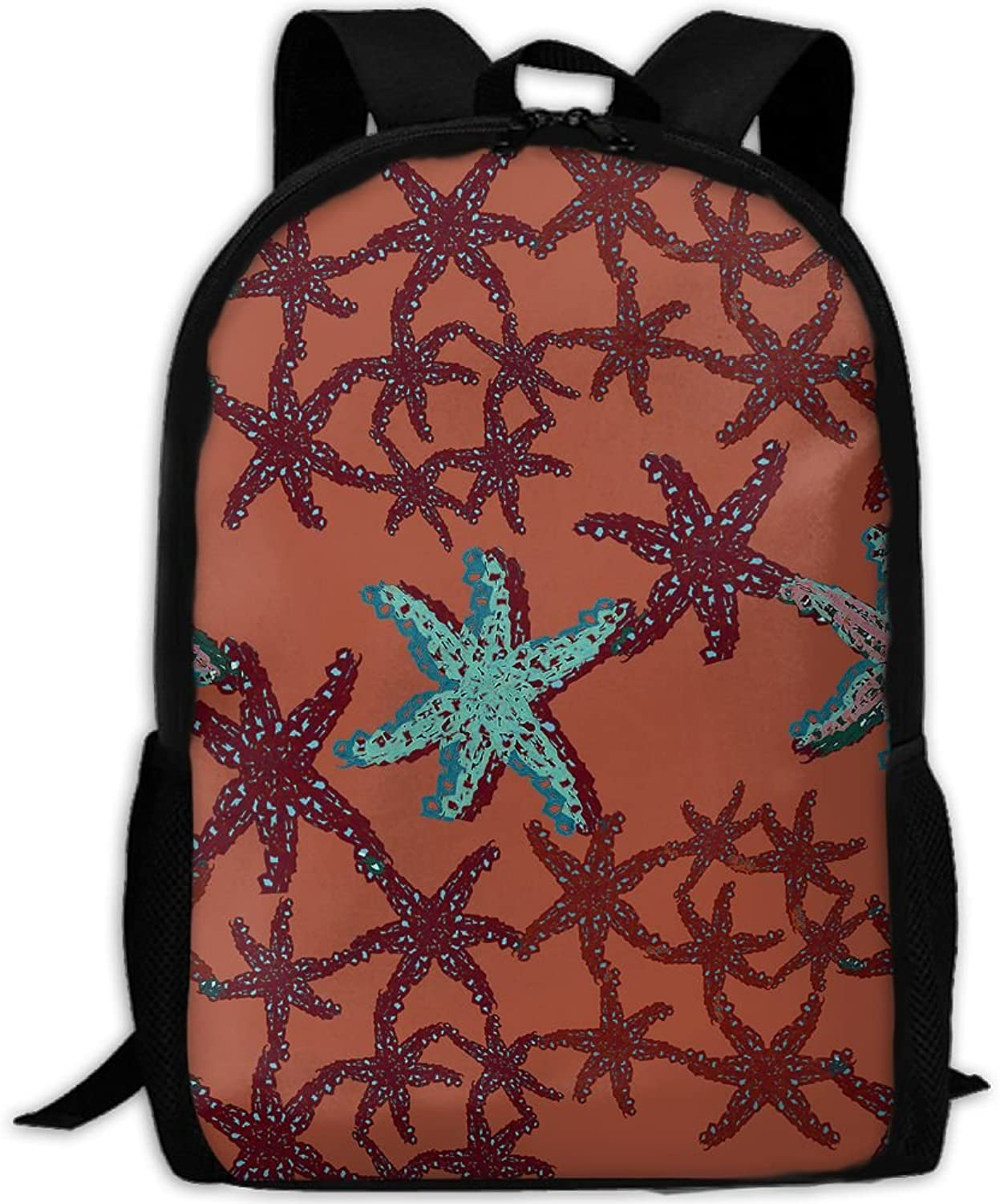 Adult Backpack Red bluee Starfish College Daypack Oxford Bag Unisex Business Travel Sports Bag with Adjustable Strap