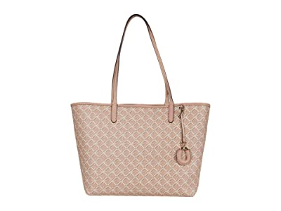 LAUREN Ralph Lauren Coated Canvas Collins 32 Tote Medium (Mellow Pink Heritage Logo) Handbags