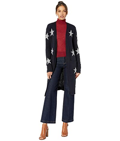 Miss Me Star Print Longline Cardigan (Navy) Women