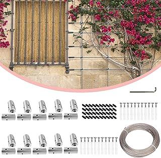 TTLIFE - Juego de 20 cubos de acero inoxidable de pared verde, cable de alambre de alambre de 98 pies, diseño de oselisco de acero al aire libre para plantas de escalada de rosas