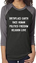 zerogravitee Birthplace:Earth Race:Human Politics:Freedom Unisex Baseball Raglan Tee