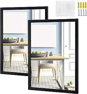 Eono Amazon Brand Espejo Rectangular para Colgar en la Pared del baño el Dormitorio o el salón 457 × 61 cm Negro (Jueg...