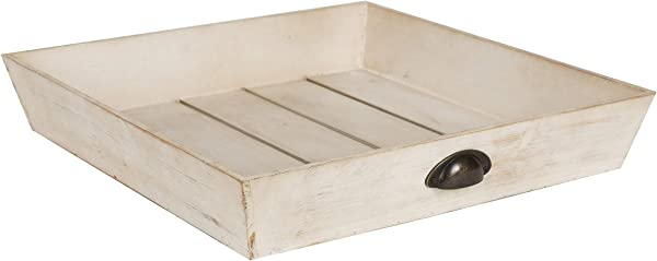 Kate And Laurel Woodmont Distressed Wood Square Ottoman Tray Antique White