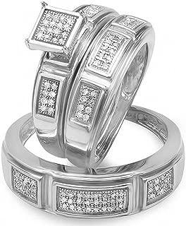Dazzlingrock Collection 0.33 Carat (ctw) Round Cut Diamond Men & Women's Engagement Ring Trio Bridal Set 1/3 CT, Sterling Silver
