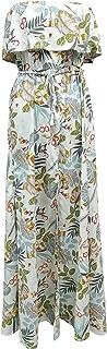 ZHISHANG Women's Off Shoulder Floral Maxi Dress Beach Party Long Dress