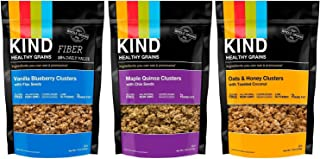 Kind Healthy Grains Clusters- Super Variety Packs 11 Oz (Pack of 3)---- Maple Quinoa W/chia + Vanilla Blueberry W/flax + Oat Honey w/ Toasted Coconut