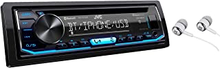 JVC KD-TD70BT Single DIN Bluetooth In-Dash CD AM/FM USB Auxiliary Digital Media Car Stereo Receiver w/ LCD Text Display Pandora/Spotify/iHeartRadio/iPhone Control / Free Alphasonik Earbuds