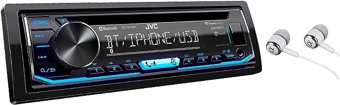 JVC KD-TD70BT Single DIN Bluetooth In-Dash CD AM/FM USB Auxiliary Digital Media Car Stereo Receiver w/ LCD Text Display Pandora/Spotify/iHeartRadio/iPhone Control / Free Alphasonik Earbuds
