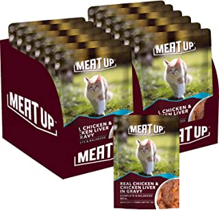 Meat Up Adult (+1 Year) Wet Cat Food, Real Chicken and Chicken Liver in Gravy, 6 Pouches (6 x 70g) - Buy 1 Get 1 Free
