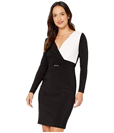 LAUREN Ralph Lauren Petite Two-Tone Jersey Dress (Black/Lauren White) Women