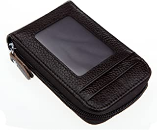 DKER Genuine Leather Mini Credit Card Case Organizer Compact Wallet with ID Window