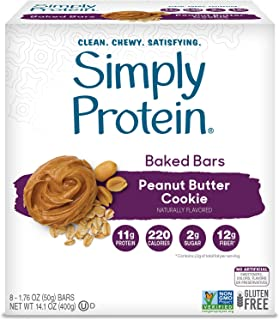 SimplyProtein Baked Bars. Clean and Light Crispy Bars with Plant Based Protein. (Peanut Butter Cookie, 8 Pack)