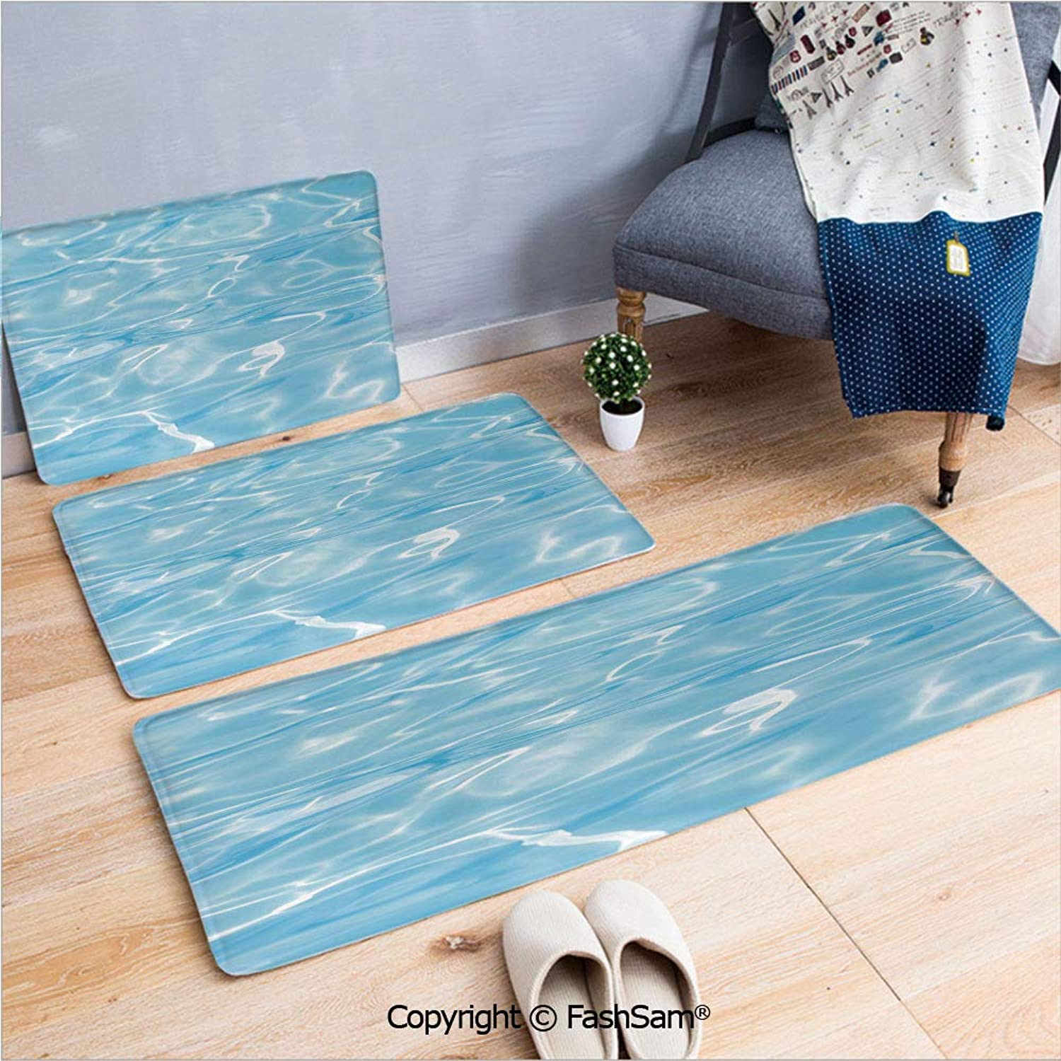 FashSam 3 Piece Flannel Doormat Swimming Pool Ocean Sea Surface with Sun Reflection Geometrical Shapes Print for Kitchen Rugs Carpet(W15.7xL23.6 by W19.6xL31.5 by W31.4xL47.2) iqaerq3975017