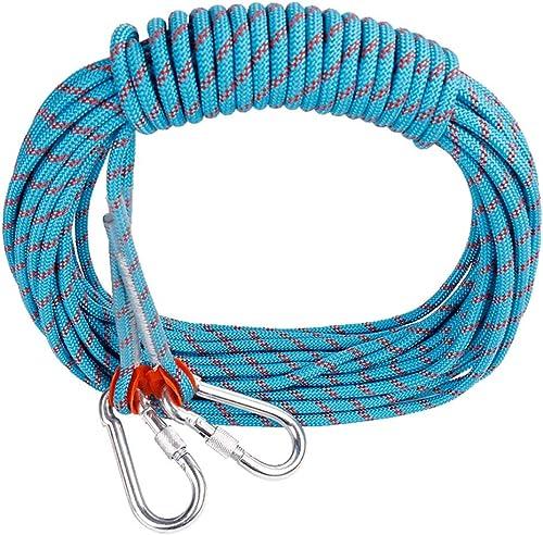 LYM-Rope Corde d'escalade, 60, 80, 100 Mètres, Diamètre 12 Mm, Parachute De Secours D'évacuation en Plein Air Bleue (Taille   80m)
