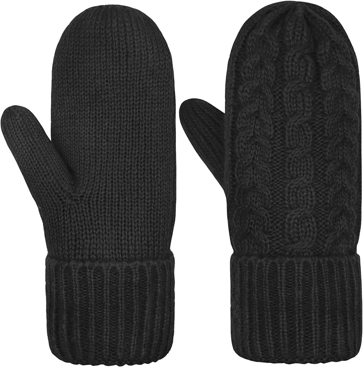 [2021 Newest] Women's Mittens Winter Thick Gloves- Warm Soft Lining Cozy Hand Warmer Cable Knit Glove Mitten for Women Girls