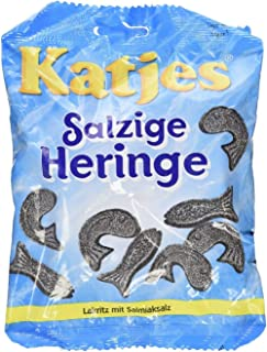 Katjes Sazige Heringe (Salty Hering Shaped Licorice)- Pack of 6 X 200 g