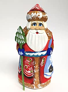 Wooden Hand Carved Painted Russian Santa Claus Figurine 5 Inch
