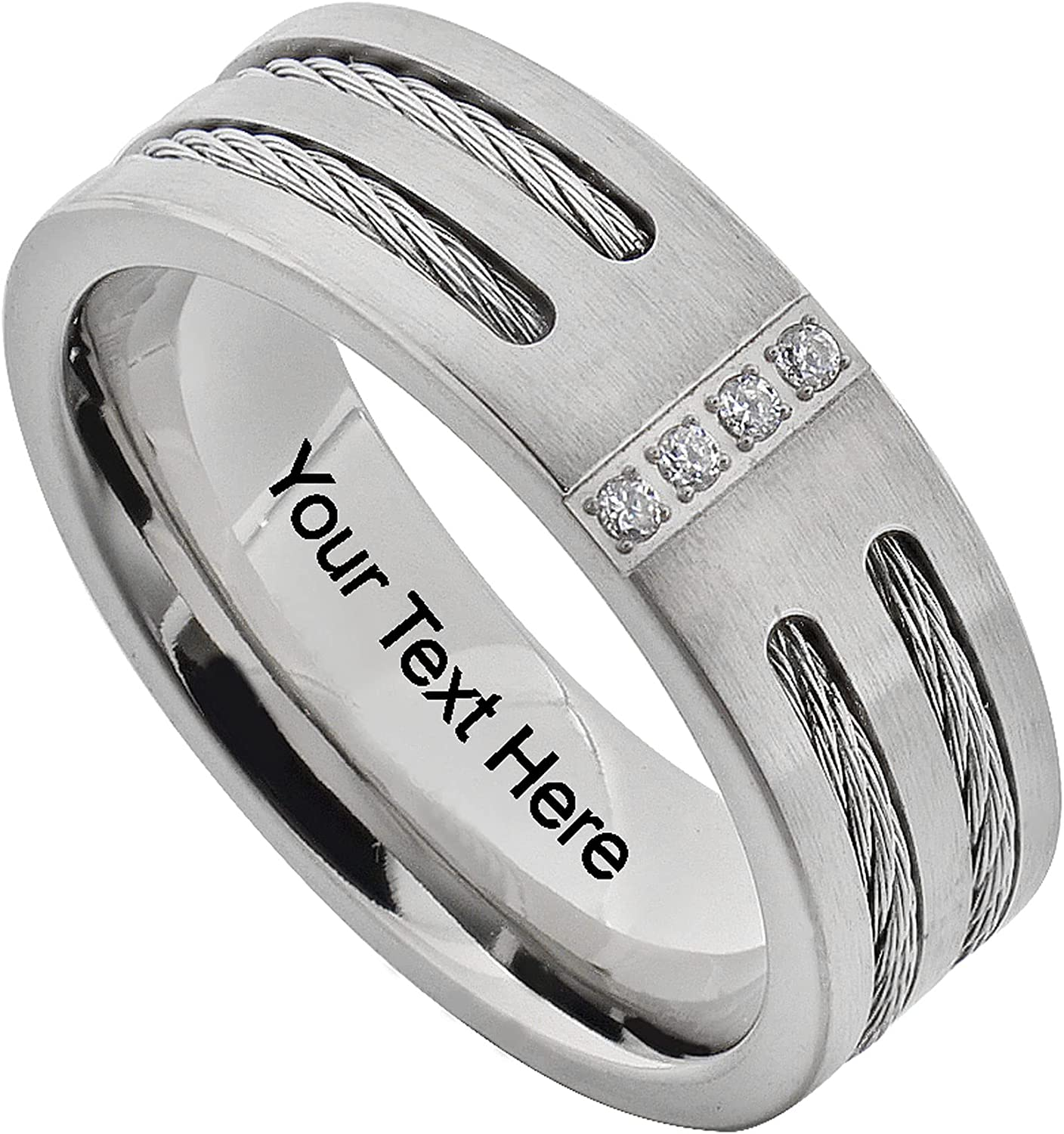 FlameReflection 8mm Men's Titanium Wedding Band Round Cubic Zirconia Stainless Steel Cable Ring Size 8-13 SPJ