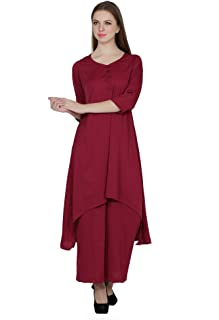 Fabrizia Women Modal Blend imported High-Low Cut Kurti With Plazzo