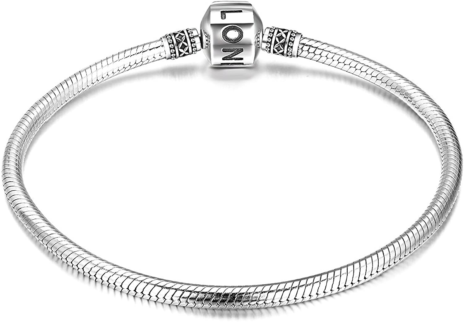 Genuine Charm Bracelet 925 Sterling Silver Snake Chain Bangle Barrel Clasp Jewelry Fit Pandora Charm Birthday Gift for Women… (8.3 inches/21 cm): Clothing