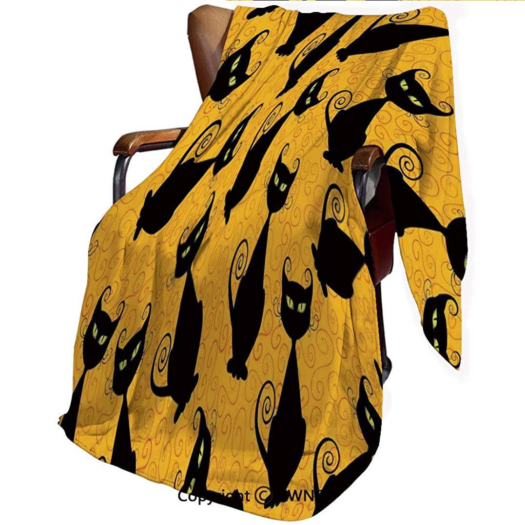 知性土雇用印刷者 毛布 シングル ネイビー マイヤー毛布 オレンジ色の背景に黒猫パターンハロウィーン魔女ペットグラフィック装飾 ブラックオレンジ 柔軟軽量発熱 吸湿/静電気防止/洗える オールシーズン 柔らかく肌触り 洗える ライト 160x100cm