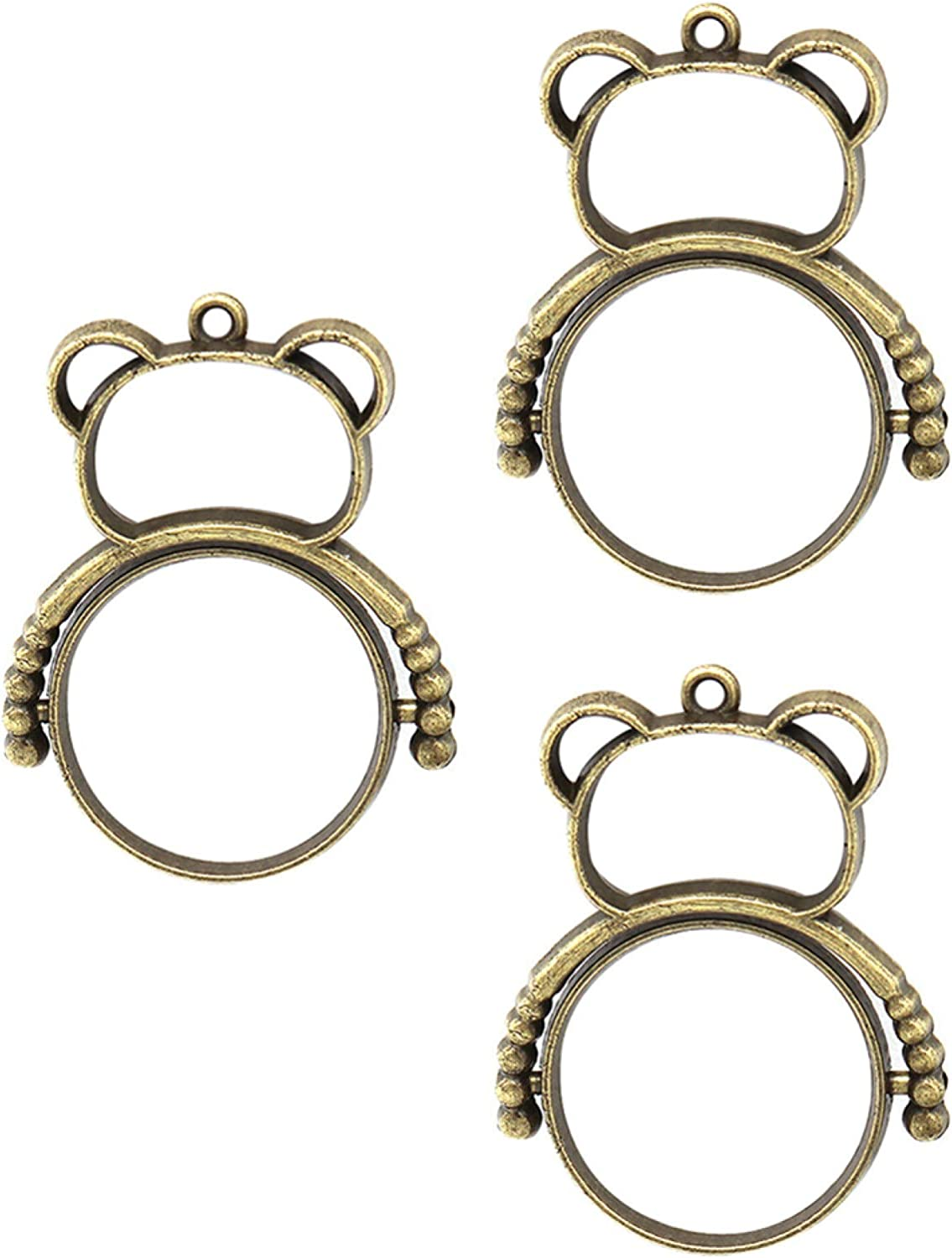 erDouckan Women Girl Fashion Summer Spring Jewerly Necklace 3Pcs 360 Degree Rotation Epoxy Alloy Frame DIY Bear Model Jewelry Accessories