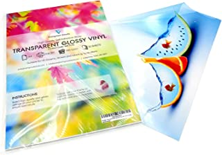 20 Sheets A4 Clear/Transparent Vinyl Glossy Self Adhesive Sticker Quality Inkjet Printable Non Waterproof Gloss Finish- Make Your own Stickers, Products Labels, Signs and More
