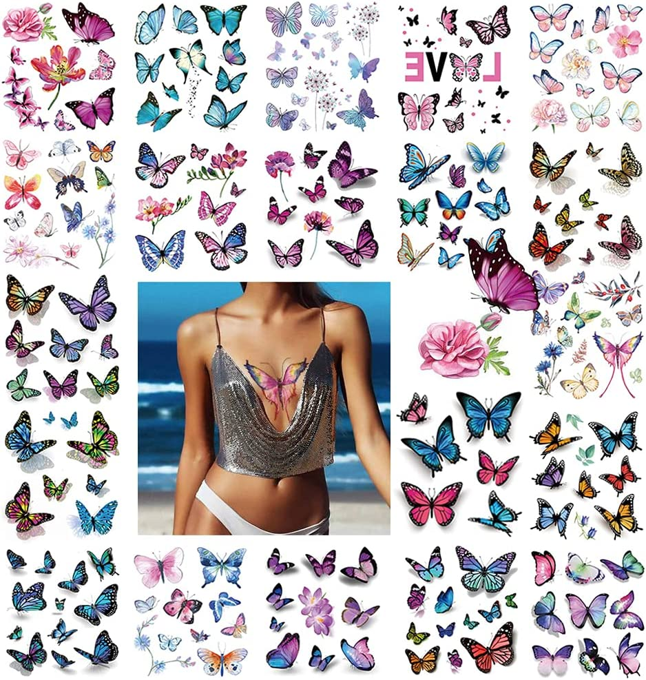 3D Butterfly Tattoos We OFFer at cheap prices 170+PCS cheap for Women Cover Tem Scar Makeup Up